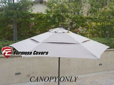Double Vented Replacement Umbrella Canopy 9ft 6 Rib Outdoor Patio Umbrella Taupe