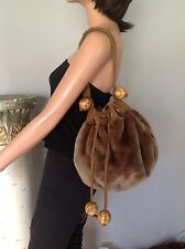 Bag Purse Faux Fur Hip Wooden Big Beads Hip Boho Deigner Fashion Unique Stylish
