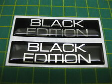 2 RECTANGLE BLACK EDITION DOMED STICKERS 80mm x 20mm
