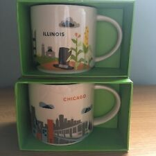 2 NEW CHICAGO & ILLINOIS Starbucks Coffee Mug set, You are Here Collector Series