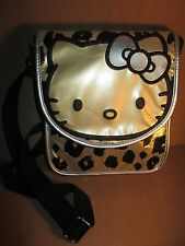 Hello Kitty Gold Silver Black Leopard Cross Body Handbag Shoulder Purse Sanrio