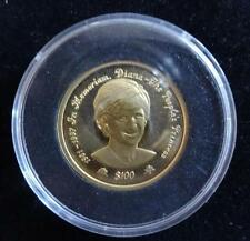 1998 1/5 oz or 24ct preuve niue island $100 coin box + coa princesse diana