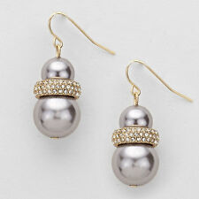 Gold Double Faux Pearl Rhinestone Accent Drop Earrings