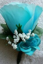 12 Rose Boutonniere*Corsage*light Blue, *Groom*Best man*Prom*Party*Quinceanera