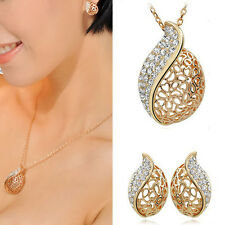 HOLLOW LEAF GOLD PLATED RHINESTONE DROP NECKLACE EARRINGS JEWELRY SET GOLD