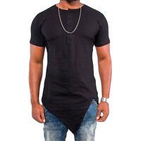 Fashion Men's Histreet T-shirt Hip hop Irregular Cut Extended Tee Tops