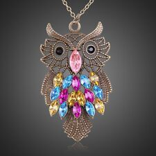 Hot Women Stylish Colorful Crystal Owl Style Charm Pendant Necklace Long Chain