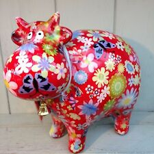 Pomme Pidou Cow Bella New funky Moneybox Red with Flwr (with Gorgeous Gift Box)