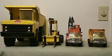 VINTAGE MIGHTY TONKA YELLOW DUMP TRUCK, FORKLIFT, CRANE,SMALL DUMP and extras