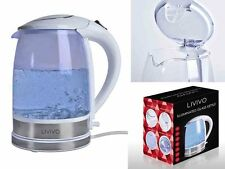 WHITE LIVIVO BLUE LED ELECTRIC GLASS KETTLE ILLUMINATED 2L 360° CORDLESS