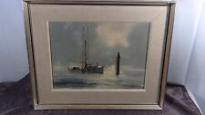 "POBERT MCVITTIE(1935-2002,CANADA)OIL ON BOARD ""FISHBOAT ON FRAISER RIVER"",SIGNED"