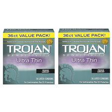 2 Pack Trojan Sensitivity Ultra Thin Premium Lubricated latex Condoms 36 in each