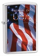 "Zippo ""Made in USA-Flag"" Brushed Chrome Lighter, ***Extra Flints/Wick***  24797"