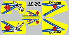 SUZUKI LT 50 PREMIUM GRAPHIC KIT. YELLOW, RED, WHITE & PINK