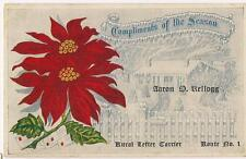 Aaron D Kellogg Rural Letter Carrier Route No 1 Christmas Greetings Postcard