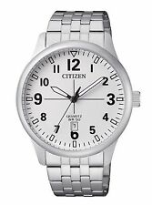 Mens Citizen Quartz Stainless Steel White Dial Watch With Date BI1050-81B