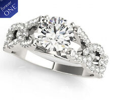 3.00 CT FOREVER ONE MOISSANITE ROUND MICRO PAVE ENGAGEMENT LINK BAND RING