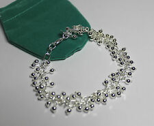 -UK- 925 Sterling Silver Beaded Delicate Bracelet 20cm (055)