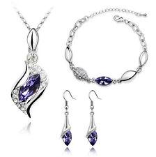 Bridal Jewellery Set Purple Crystal Eyes Drop Earrings Necklace & Bracelet S287
