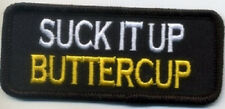LOT OF 2 - SUCK IT UP BUTTERCUP EMBROIDERED IRON ON BIKER PATCH