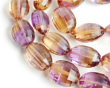 BIG Natural Ametrine Faceted Oval Straight Drilled Gemstone Bead (1PCS)  001