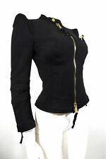 DSQUARED2 NWT Pointy Shoulder Built in Bra Zip Fitted Jacket $995 sz 6