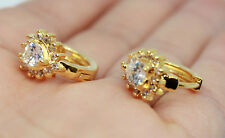 pair Fashion 18K Gold Filled Clear Crystal Hoop Small Huggie Heart Earrings