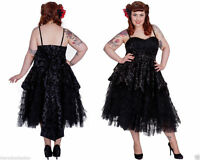 Ladies  HELL BUNNY 4000 Prom Lavintage Steampunk Cocktail Victorian Black Dress