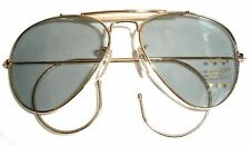 GOLD METAL AVIATOR SUNGLASSES WITH SMALL GAUGE  FLEXIBLE EAR LOOP/WRAP 100% UV