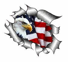 Ripped Torn Metal Look Design With American Eagle & US Flag vinyl car sticker