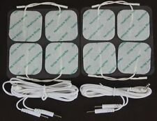 TENS PADS  8 ADHESIVE TENS ELECTRODES 5cm x 5cm WITH MALE LEAD WIRES