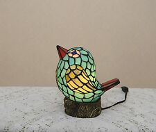 Stained Glass Tiffany Style Lovely Bird Night Light Table Desk Lamp. Cute!