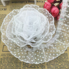 NEW 5 yards 40mm Wide White Organza Lace Gathered Pleated Sequined Trim B-UK#