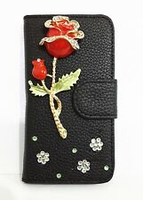 Diamond Bling Crystal 3D Rose Leather Flip Pouch Case Cover For HTC Cell Phones