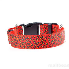 Fashion Leopard Pet Cat Dogs LED Light Flashing Collar Night Safety Neck Collars