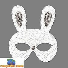 EASTER BUGS BUNNY RABBIT SEQUIN EYE MASK - womens ladies fancy dress accessory
