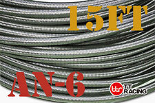 """3/8"""" STAINLESS STEEL BRAIDED 1000 PSI -6AN AN6 6-AN OIL FUEL LINE HOSE 15FT"""