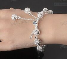925 SOLID STERLING SILVER & PLATINUM PLATED HOLLOW BEAD BALL BRACELET.GIFT BOXED