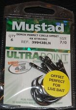 6 Pack Mustad 39943BLN-70 Ultra Point Size 7/0 4X Strong Demon Circle Hook