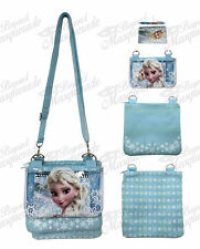 "9"" Disney Frozen Elsa Adjustable Strap Messenger Shoulder Purse Bag - Teal"