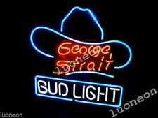 New GEORGE STRAIT BUD LIGHT BUDWEISER Beer Bar Real Neon Sign FREE SHIPPING