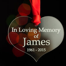 Personalised Memorial Christmas Tree Bauble Decoration Memory Heart Gift Present
