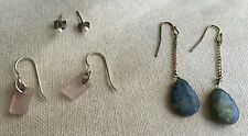 Lot of 3 Earrings - Artist Dangling Sea Glass, Dangling Stone and Pearl Studs