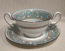 Wedgwood Florentine Turquoise Cream Soup Bowl and Saucer Brown Backstamp