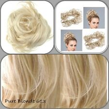 "Pure Blonde Wrap Around 24""Twirl Scrunchie For Messy Bun Beehive Updo Style"