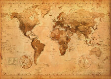 Antique Giant World Map Poster Vintage Style Print, 55x39 Wall Decoration