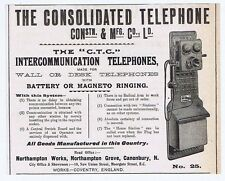Consolidated Electrical Co Ltd; London; Telephone Makers - Antique Advert 1904