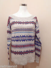 American Eagle Womens Off Shoulder Fair Isle Sweater Light Gray M AE Top NEW