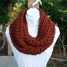 INFINITY SCARF Dark Burnt Orange, Autumn Fall Colors, Chunky Winter Loop Cowl