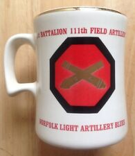 1970s ARMY NATIONAL GUARD COFFEE MUG, NORFOLK LIGHT ARTILLERY BLUES, NORFOLK, VA